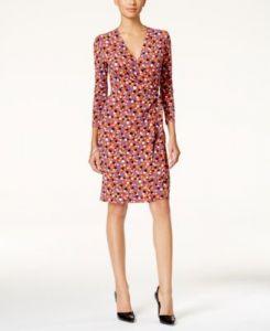 性感优雅女人味爆棚!Anne Klein 印花裹身连衣裙仅售$30.79