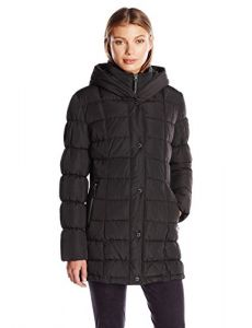 Calvin Klein Women's Puffer Coat Long with Knit Trim Side Detail, Black, XS