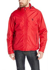 U.S. Polo Assn. Men's Mock Neck Polar Fleece Lined Jacket with Pu Piping, Chili Pepper, Large