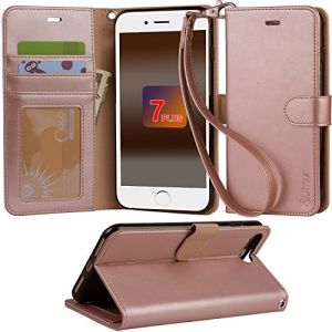 iphone 7 plus Case, Arae iphone 7 plus wallet Case with Kickstand and Flip cover, Rose Gold