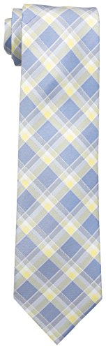 Vince Camuto Men's Pavia Plaid Necktie, Navy/Yellow, One Size