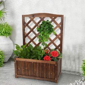 木质带花架种植花盆,很适合爬藤植物