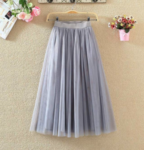 PauMaria Women's Midi Tulle Skirt Elastic Waist 3 Layered Mesh Formal Prom Party Tutu Skirt A Line Grey