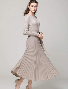 Cashmere Wool Dresses 2018 Spring Autumn Crew Neck Belt Fit High Waist Pleated Midi Long Dress(Camel, S)